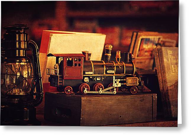 The Little Train On The Shelf Greeting Card by Maria Angelica Maira