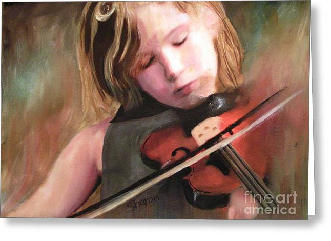 The Little Violinist Greeting Card by Sharon Burger