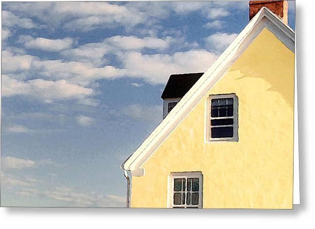 The Little Yellow House At The Seawall Greeting Card