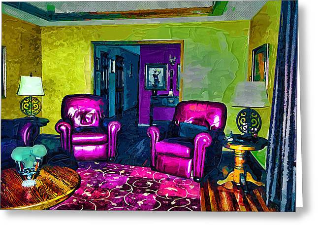Greeting Card featuring the painting The Living Room by Tyler Robbins