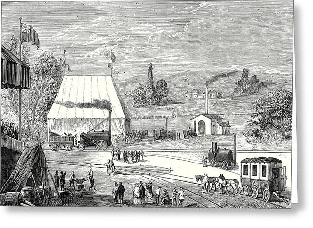 The Locomotive Contest In Liverpool In October 1829 Greeting Card