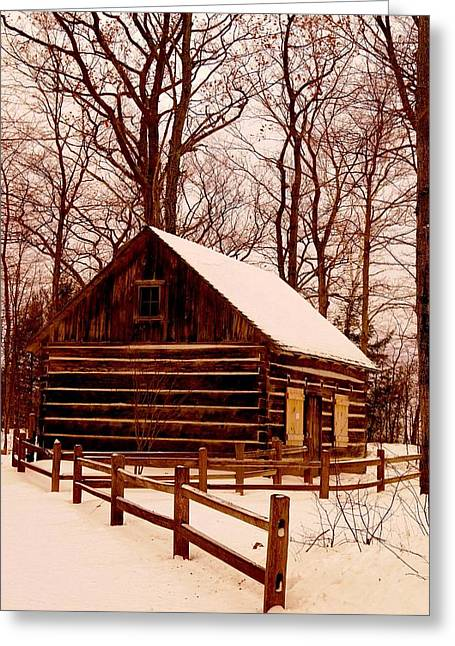 The Log Cabin At Old Mission Point Greeting Card