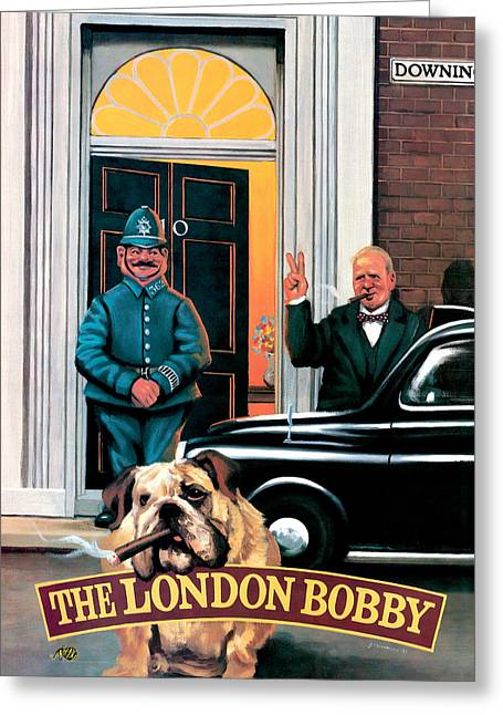 The London Bobby Greeting Card by Peter Green