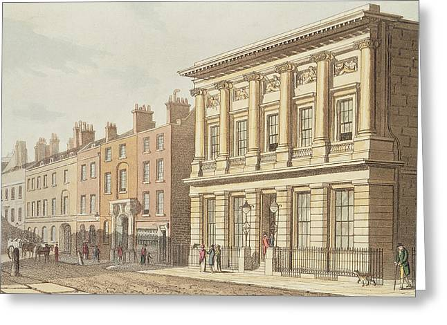 The London Commercial Sale Rooms, From R.ackermanns Repository Of Arts 1813 Colour Litho Greeting Card by English School
