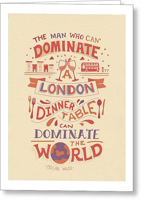 The London Dinner Table - Oscar Wilde Greeting Card