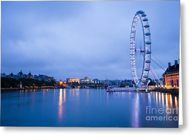 The London Eye Dawn Light Greeting Card by Donald Davis