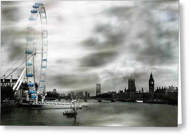 The London Eye Greeting Card by Wayne Wood