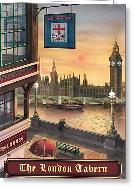 The London Tavern Greeting Card by Peter Green