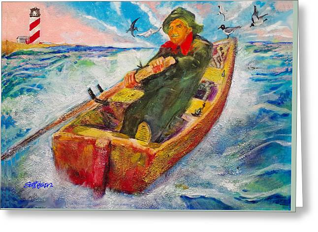 The Lone Boatman Greeting Card
