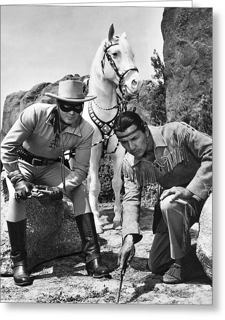 The Lone Ranger And Tonto Greeting Card by Underwood Archives