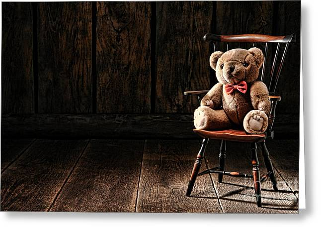 The Lonely Forgotten Bear Greeting Card by Olivier Le Queinec
