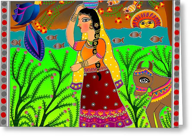 The Lonely Radha-madhubani Style-digital Greeting Card by Latha Gokuldas Panicker