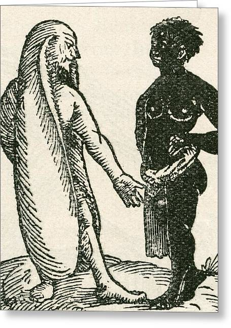 The Long Eared Man Scolds His Servant Greeting Card by English School