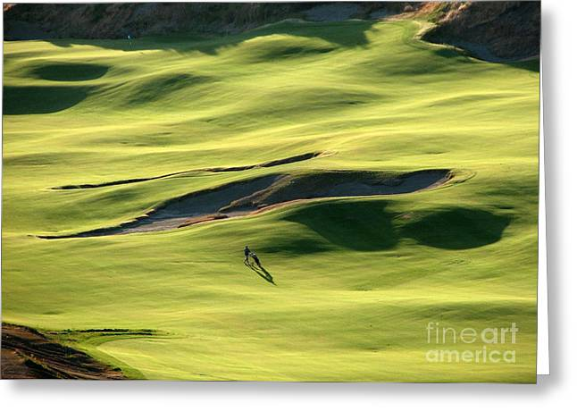 Greeting Card featuring the photograph The Long Green Walk - Chambers Bay Golf Course by Chris Anderson