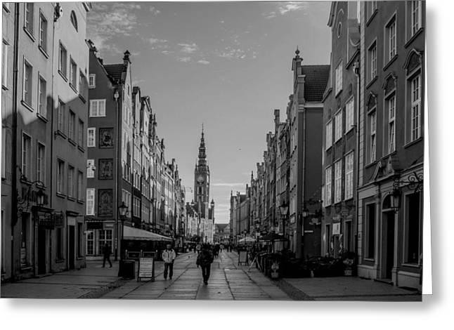 The Long Lane In Gdansk Bw Greeting Card by Adam Budziarek