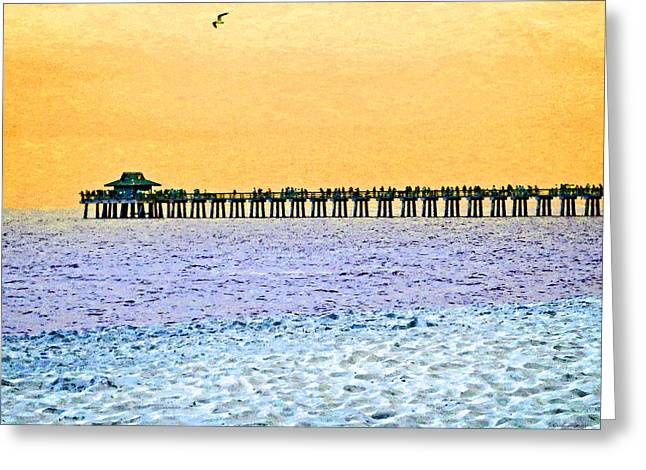 The Long Pier - Art By Sharon Cummings Greeting Card by Sharon Cummings