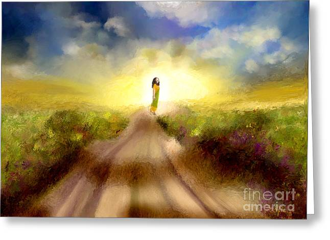 The Long Road Greeting Card by Sydne Archambault