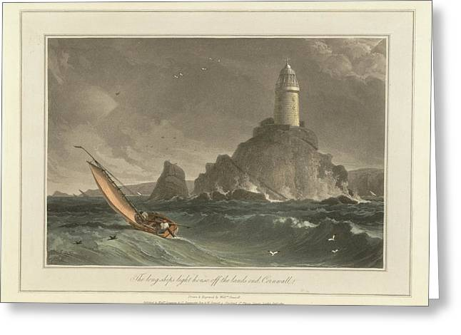 The Long-ships Lighthouse Greeting Card by British Library