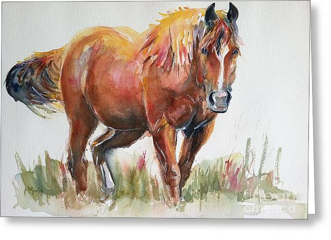 Horse Painting In Watercolor The Longest Journey Greeting Card by Maria's Watercolor