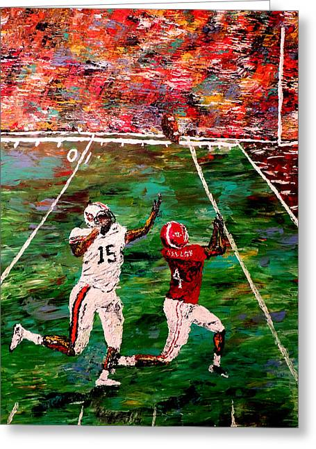 The Longest Yard - Alabama Vs Auburn Football Greeting Card by Mark Moore
