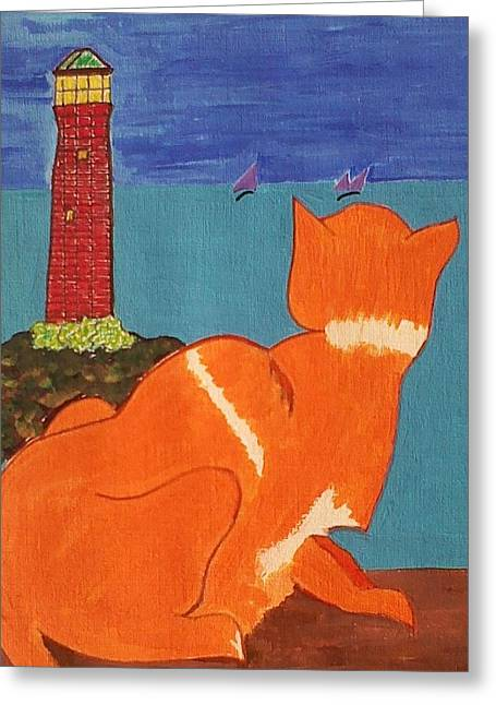 The Lookout Greeting Card by Lew Griffin