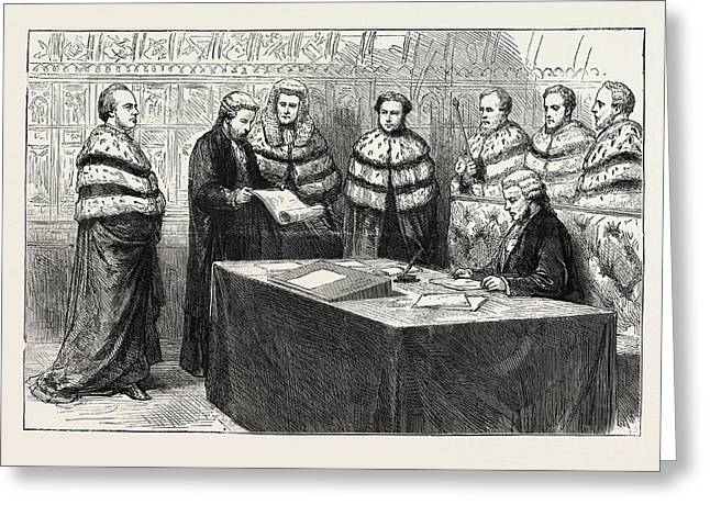 The Lord Chancellor Taking His Seat In The House Of Lords Greeting Card by English School