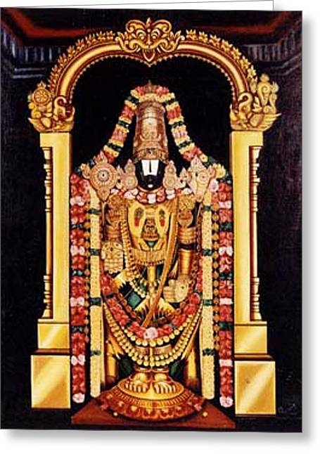 Greeting Card featuring the painting The Lord Of Seven Hills by Ragunath Venkatraman