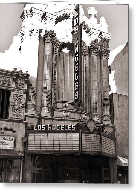 The Los Angeles Theatre - Black And White Greeting Card by Gregory Dyer