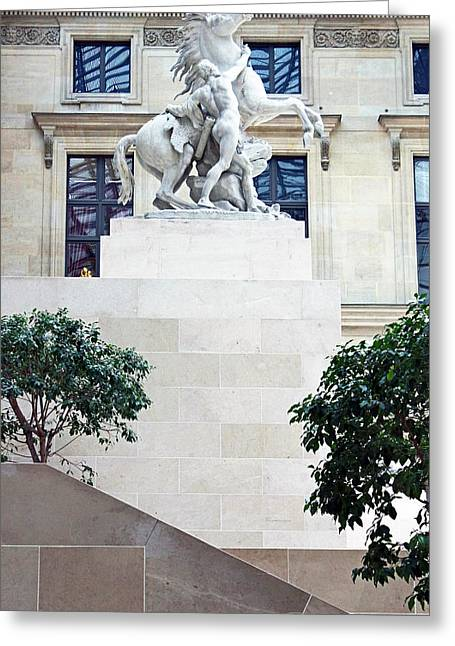 The Louvre Horse Tamer Greeting Card by Samantha Ridgway