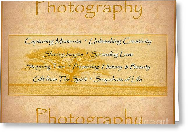 The Love Of Photography  Greeting Card by Bobbee Rickard