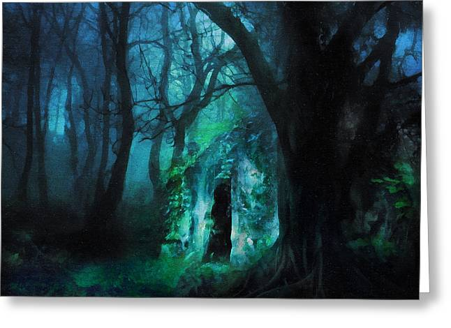 The Lovers Cottage By Night Greeting Card