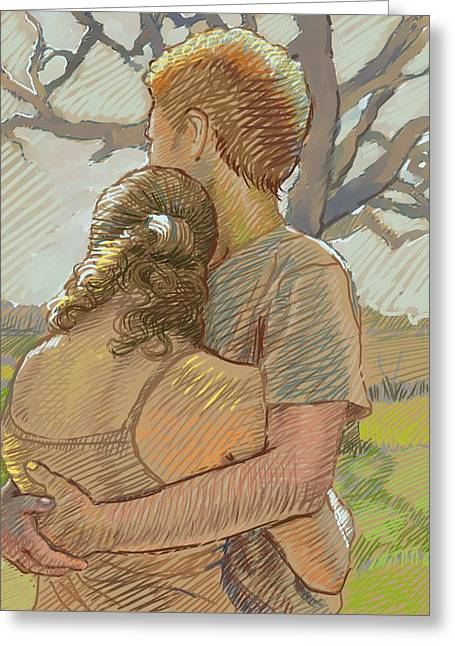 The Lovers Greeting Card by Dominique Amendola