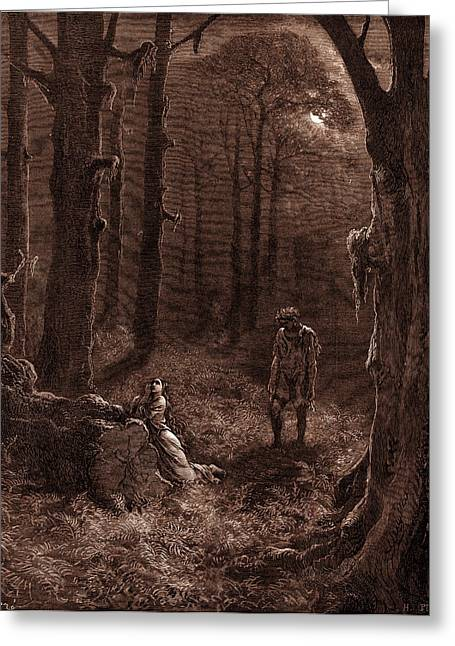 The Lovers In The Moon-lit Forest Greeting Card