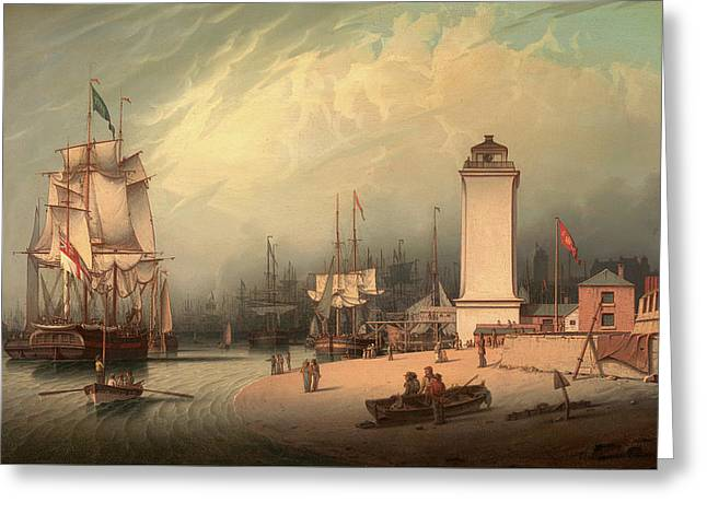 The Low Lighthouse, North Shields, Robert Salmon Greeting Card by Litz Collection