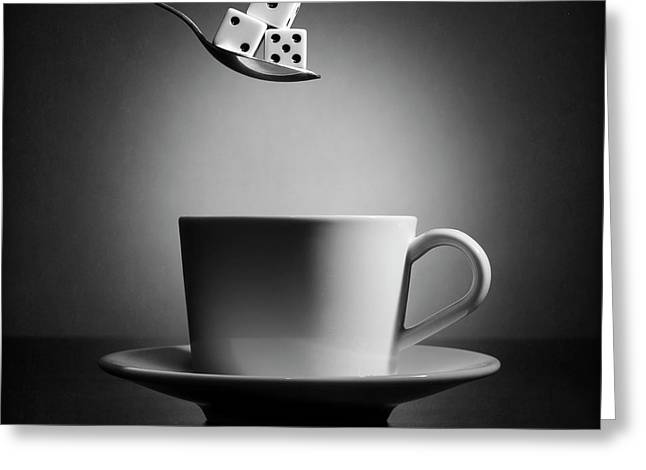 The Lucky Cup Of Coffee (version 2) Greeting Card by Victoria Ivanova