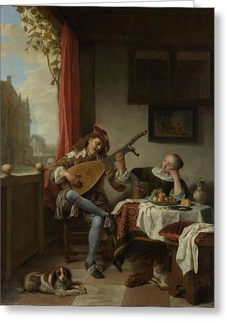 The Lutenist, Hendrick Martensz Greeting Card by Litz Collection