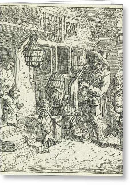 The Lyre Player With The Dancing Dog, Van Der Welle Greeting Card by Cornelis Dusart