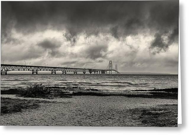 The Mackinac Bridge B W Greeting Card