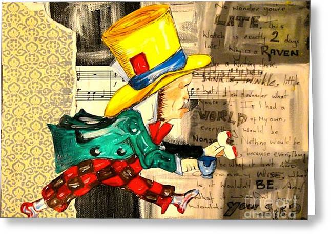 The Mad Hatter Greeting Card by Sabrina Phillips