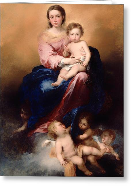 The Madonna Of The Rosary Greeting Card by Mountain Dreams