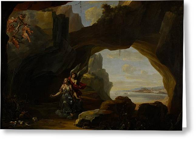 The Magdalen In A Cave Greeting Card by Johannes Lingelbach