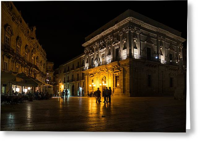Greeting Card featuring the photograph The Magical Duomo Square In Ortygia Syracuse Sicily by Georgia Mizuleva