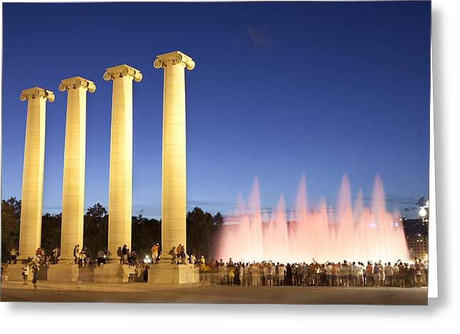 The Magical Fountain In Barcelona Greeting Card by Javier Fores