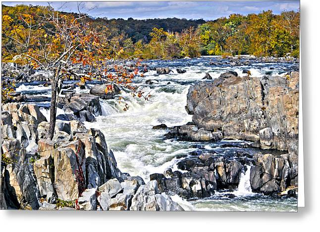 The Magnificent Autumn Waterfall Greeting Card by Leslie Cruz