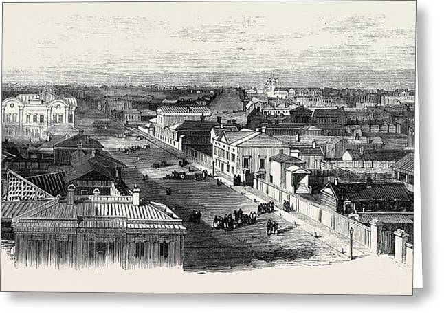 The Main Street Of Irkutsk Siberia 1869 Greeting Card by English School