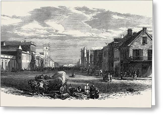The Main Street Of Port Elizabeth Algoa Bay Cape Colony 1866 Greeting Card by English School