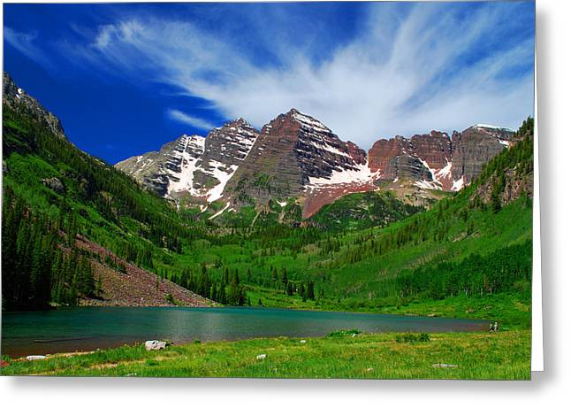 The Majestic Maroon Bells With Tiny Tourists Greeting Card
