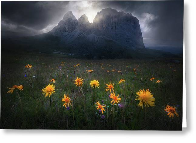 The Majesty Of Sassolungo Greeting Card by Luca Rebustini
