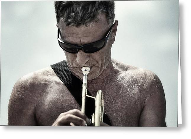 The Man His Trumpet And The Sea Greeting Card by Michel Verhoef