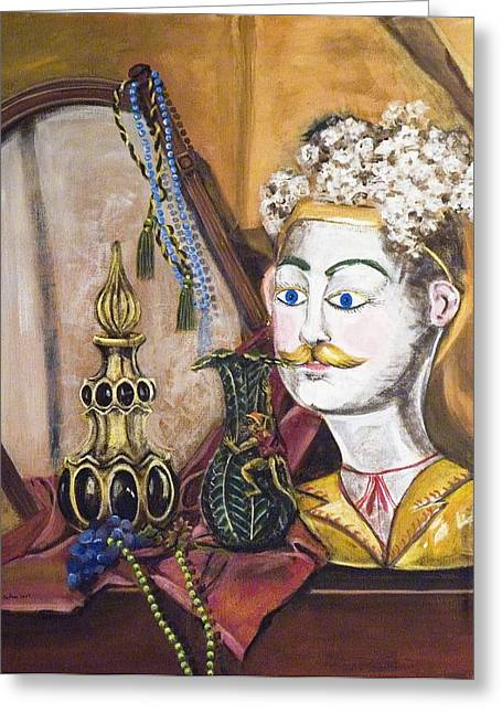 Greeting Card featuring the painting The Man In The Mirror by Susan Culver